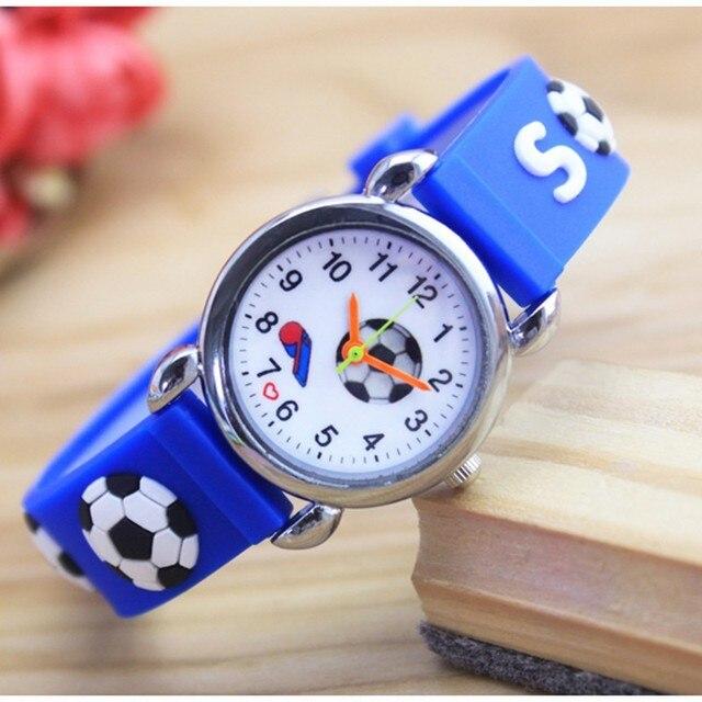 3D Cartoon Lovely football Kids Girls Boys Children Students Quartz Wrist Watch