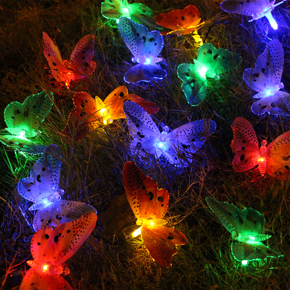 6m 20 Led Butterfly String Light Fairy Solar Power Fiber Optic Garland Outdoor Garden Party Patio Courtyard Street Decoration