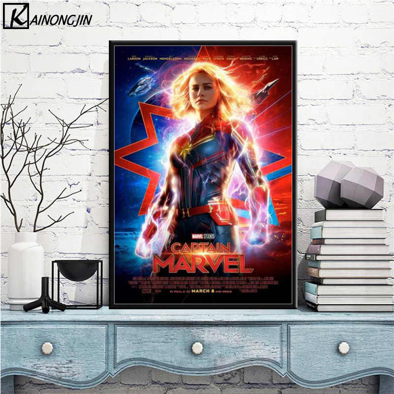 Posters and Prints Captain Marvel Hot 2019 Movie Goose Cat Poster Canvas Painting Wall Art Picture for Living Room Home Decor