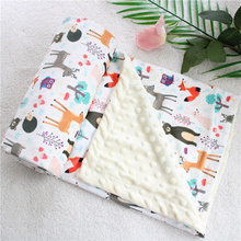 2 layers 3D dot cartoon whale minky coral fleece soft thermal toddler child winter baby blanket kids back seat cover baby quilt animal pattern minky dot baby blanket