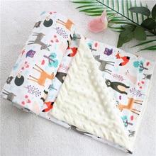 2 х слойное мягкое теплое детское зимнее одеяло из кораллового флиса с 3d рисунком Кита, Минки, кораллового цвета для малышей, Детское покрывало на заднее сиденье