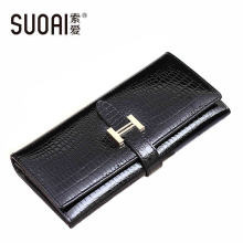 SUOAI 2015 High Quality Genuine Leather Wallets Women Long Purse Vintage Alligator Wallet