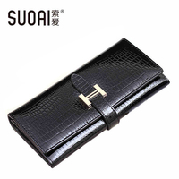 SUOAI 2015 High Quality Genuine Leather Wallets Women Long Purse Vintage Alligator Genuine Leather Wallet