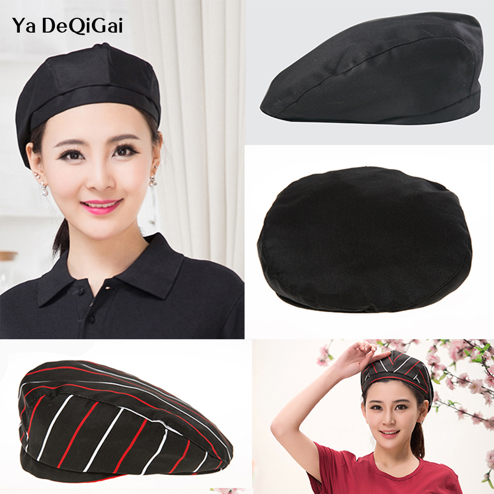 High Quality Food Service Chef Hat Hotel Restaurant Uniform Hat Cooker Uniform Coat Chef Working Wear Cap Accessories Stripe Hat