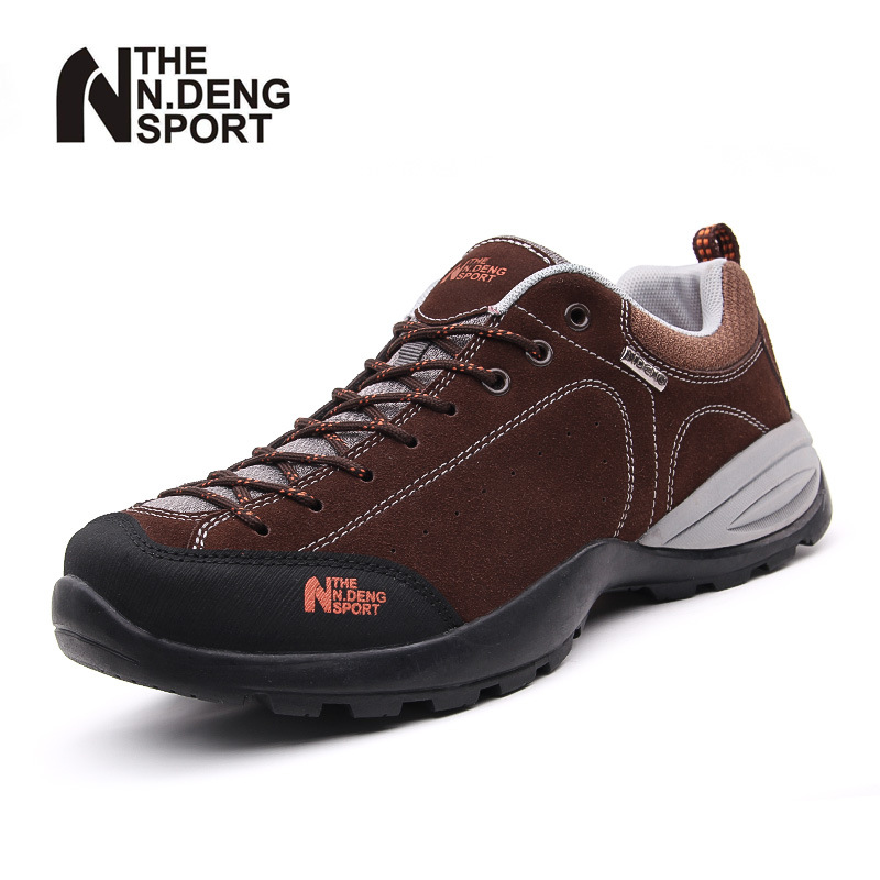 ФОТО Genuine leather outdoor hiking shoes men women autumn breathable walking climbing outdoor trekking shoes non-slip athletic shoes