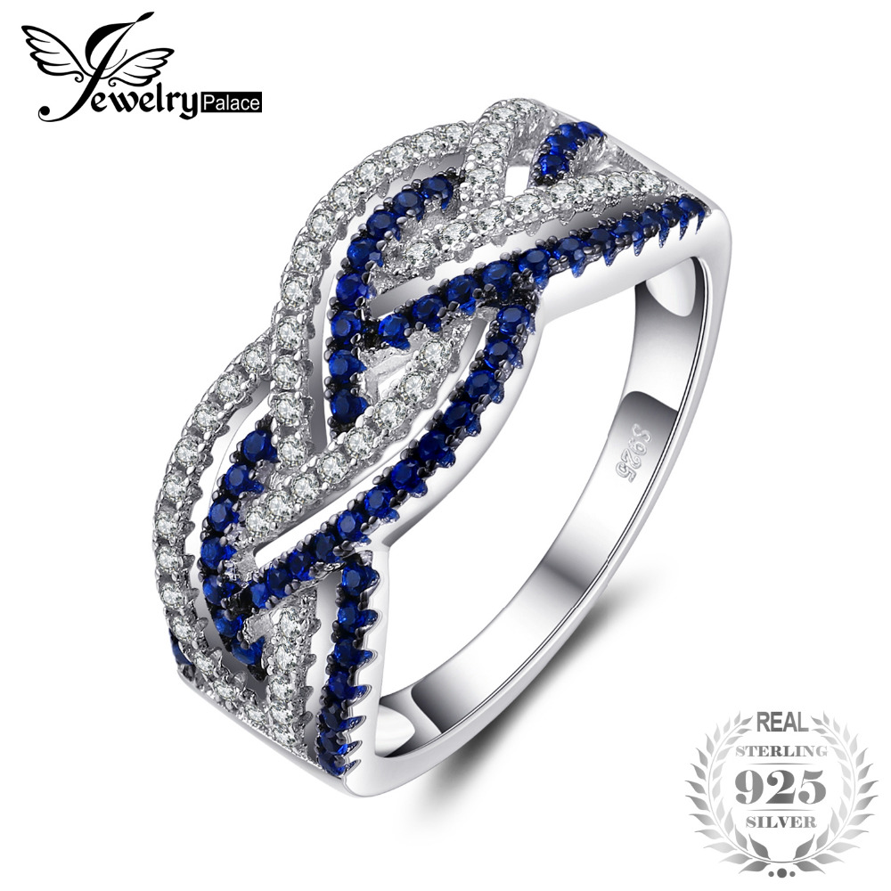 Jewelrypalace Interwined Lines Two Hue 0.2ct Created Blue Spinels Pave Rings 925 Sterling Silver Hot Selling New Gift For Mother