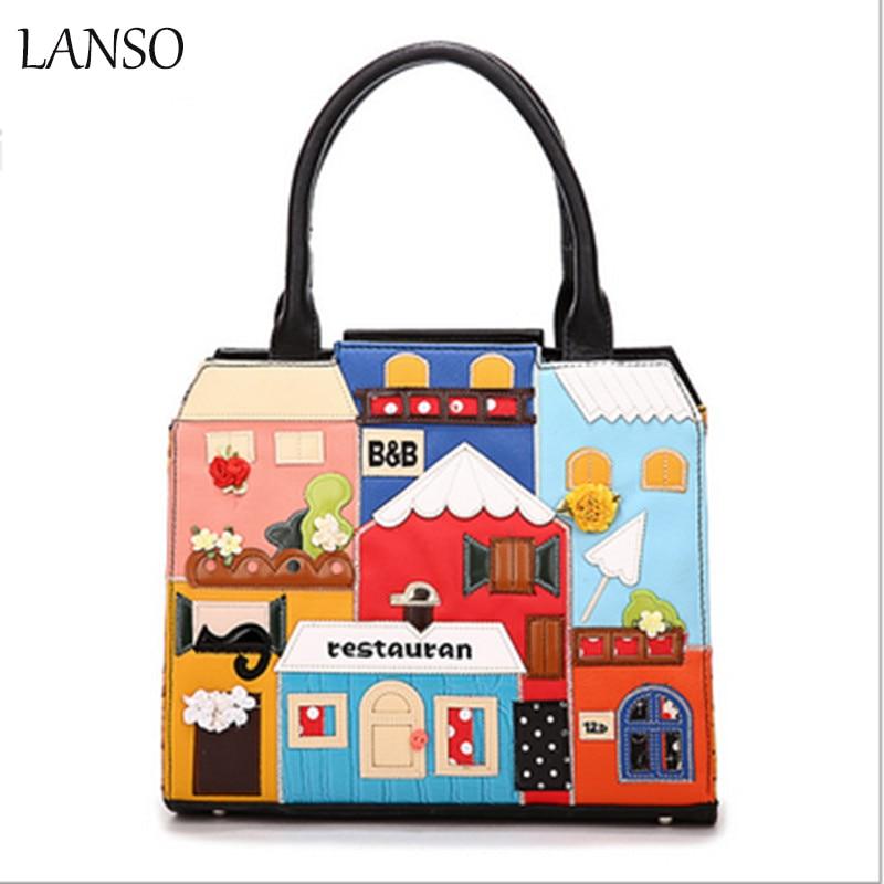 ФОТО Brand New Fashion Women Bag High Quality PU Ladies Hand Bag Leather Handbag RetroTote Bag Female Girl Cartoon Splicing Handbag