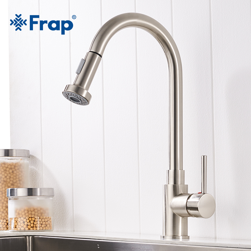 Frap New Arrival Kitchen sink Faucet Brass High Kitchen Sink Faucets Pull Out Rotation Spray Mixer Tap Torneira Cozinha Y40050