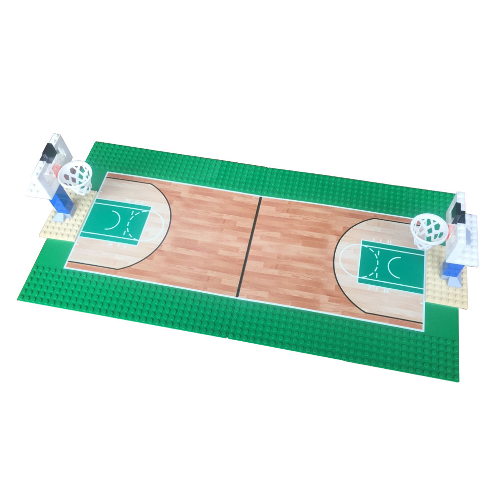 10x10 Inch Baseplate Basketball Court With Basketball Stand Set For Educational Block DIY Building Block Brick Brickset