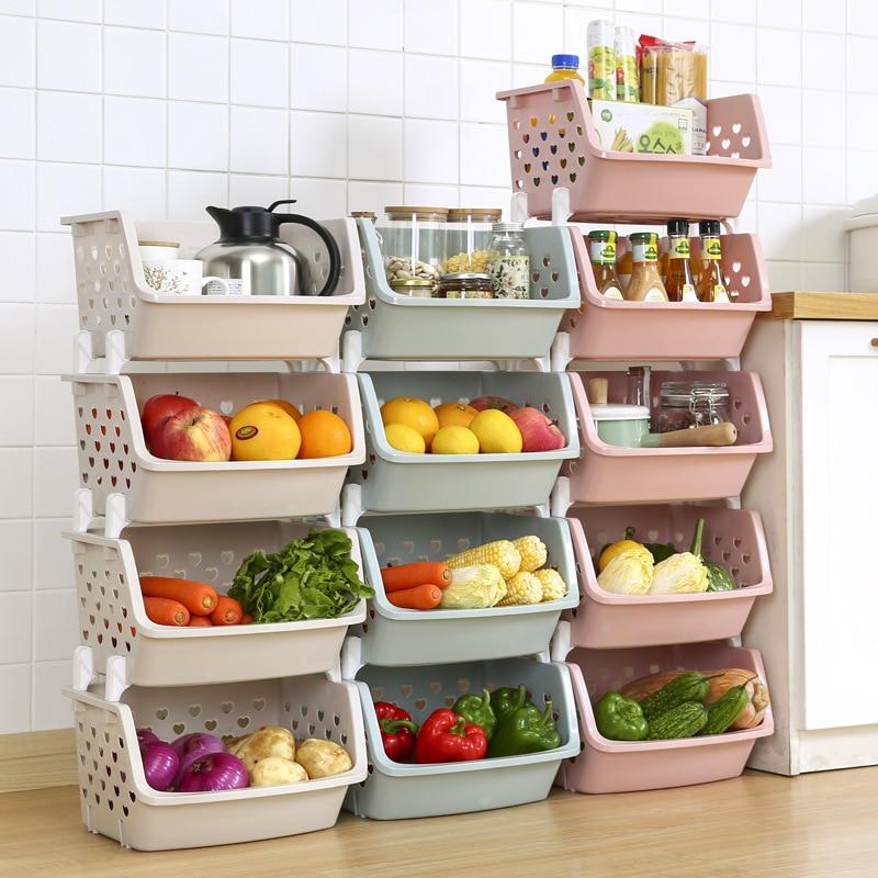 Stackable Storage Basket Plastic Toy Storage Baskets Kitchen Snacks Vegetable Basket Bathroom Shelves
