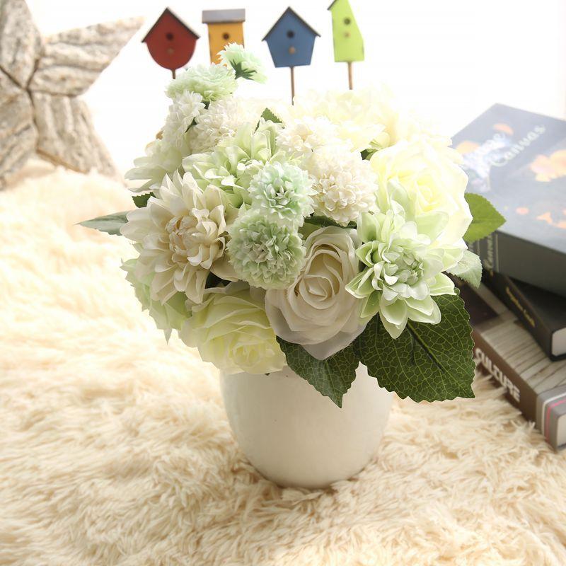 Silke blomma bröllop bukett rosor dahlias Konstgjorda blommor faller - Semester och fester - Foto 3