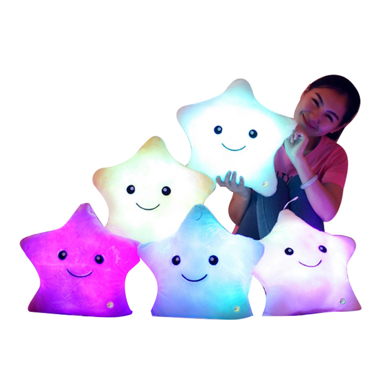 4035 Cm 1 PCs Stuffed Dolls Star Light Colorful Pillows Popular Plush Toys Baby, Girl 'S gift Colorful Luminous Pillow Stars Dol