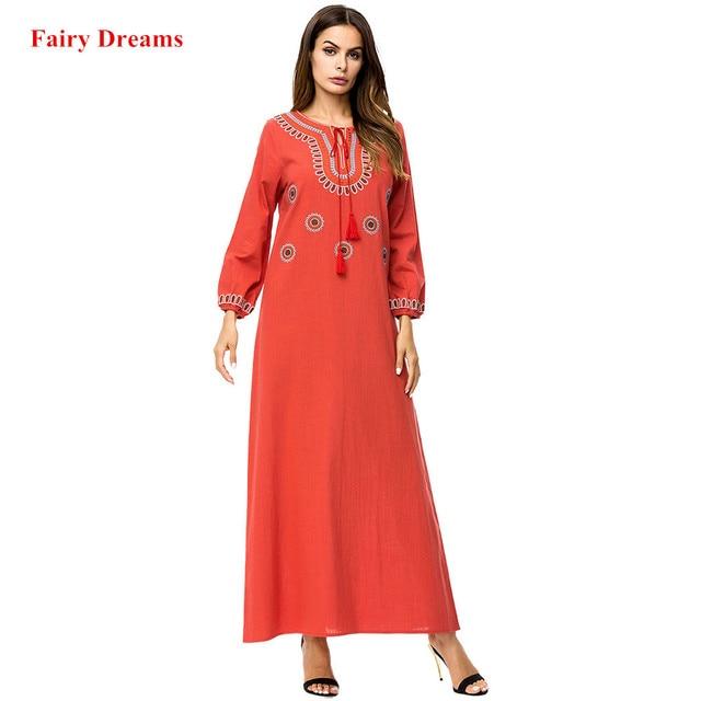 a907246662 Abayas For Women Wine Red Embroidery Tassel Long Sleeve Maxi Muslim Dress  Arab Dubai Islamic Clothing