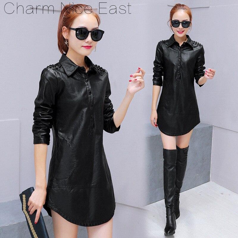 2018 Autumn Winter PU dresses Women Long sleeve Turn-down slim Top Puls-size Mid-long shirt New Fashion Women's   Leather   clothing