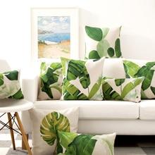 Nordic Tropical plants Simple Watercolor Pillow Cover Home Decorative Pillows Linen Pillow Case Office Sofa Cushion Cover