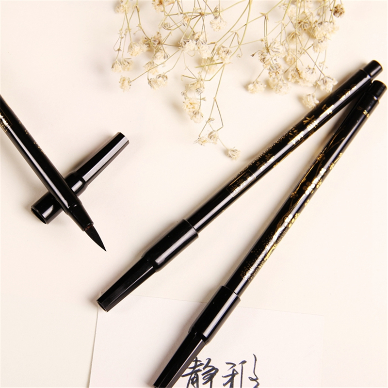 Handmade Life Store Cute Creative Double Head Platinum Soft Calligraphy Brushes Plastic Handle For Kids Gift Painting Supplies Free Shipping 903
