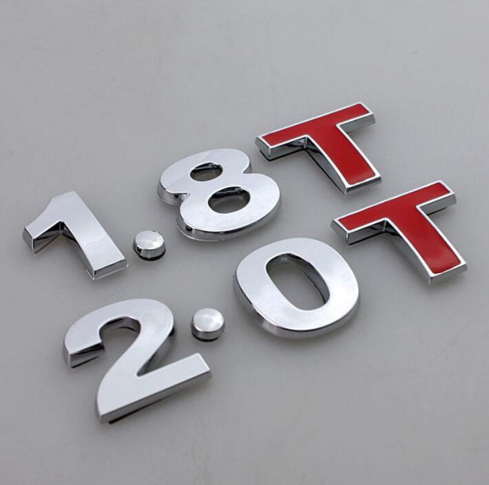 1.8 t 2.0 t emblema adesivo chrome corpo do carro traseiro fender cauda emblema para golf gti mk4 jetta passat beetle a3 a4 a5 a6 tt estilo do carro