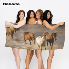 Customize White Horse Herd Grazing Running Soft Bath Towel Beach Towel Drying Washcloth Swimwear Swimming Shower Towel