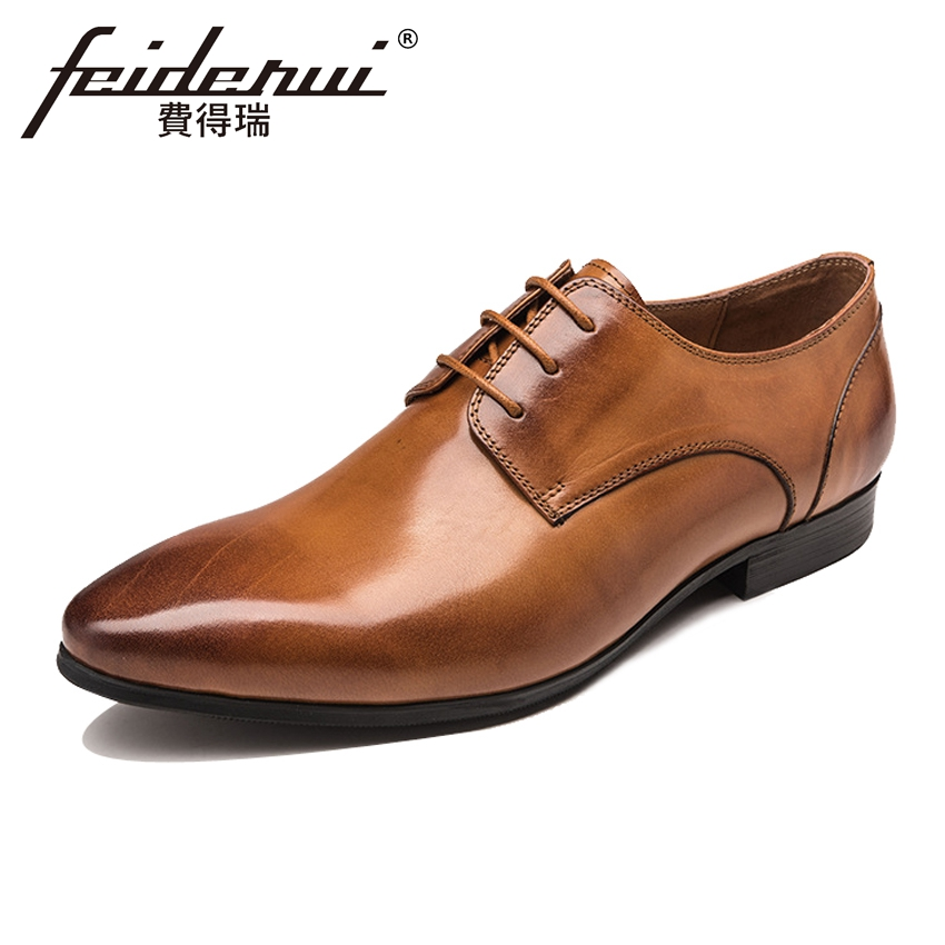 Luxury Italian Style Derby Mens Formal Dress Office Footwear Genuine Leather Pointed Toe Lace-up Man Wedding Party Shoes YMX456 ...