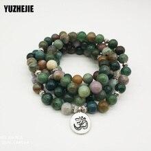 YUZHEJIE Top Verkauf Aliexpress frauen Wrap Armband Trendy Indien Stein Armband oder Halskette 108 Mala Phantasie Stein Perlen Armband