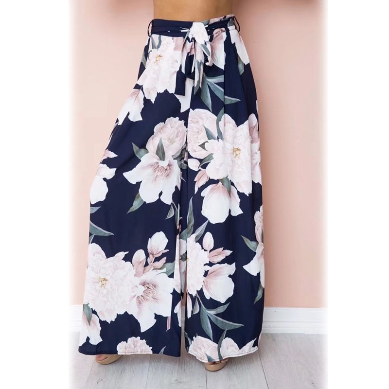 High Summer Women Sexy   Wide     Leg     Pants   High Waist Belt Floral Printed Girl Casual Trousers DSM
