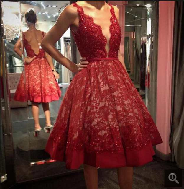170eb687ec6 New design Red Lace short Prom Dresses Sleeveless Deep V-Neck sexy informal  petite beading