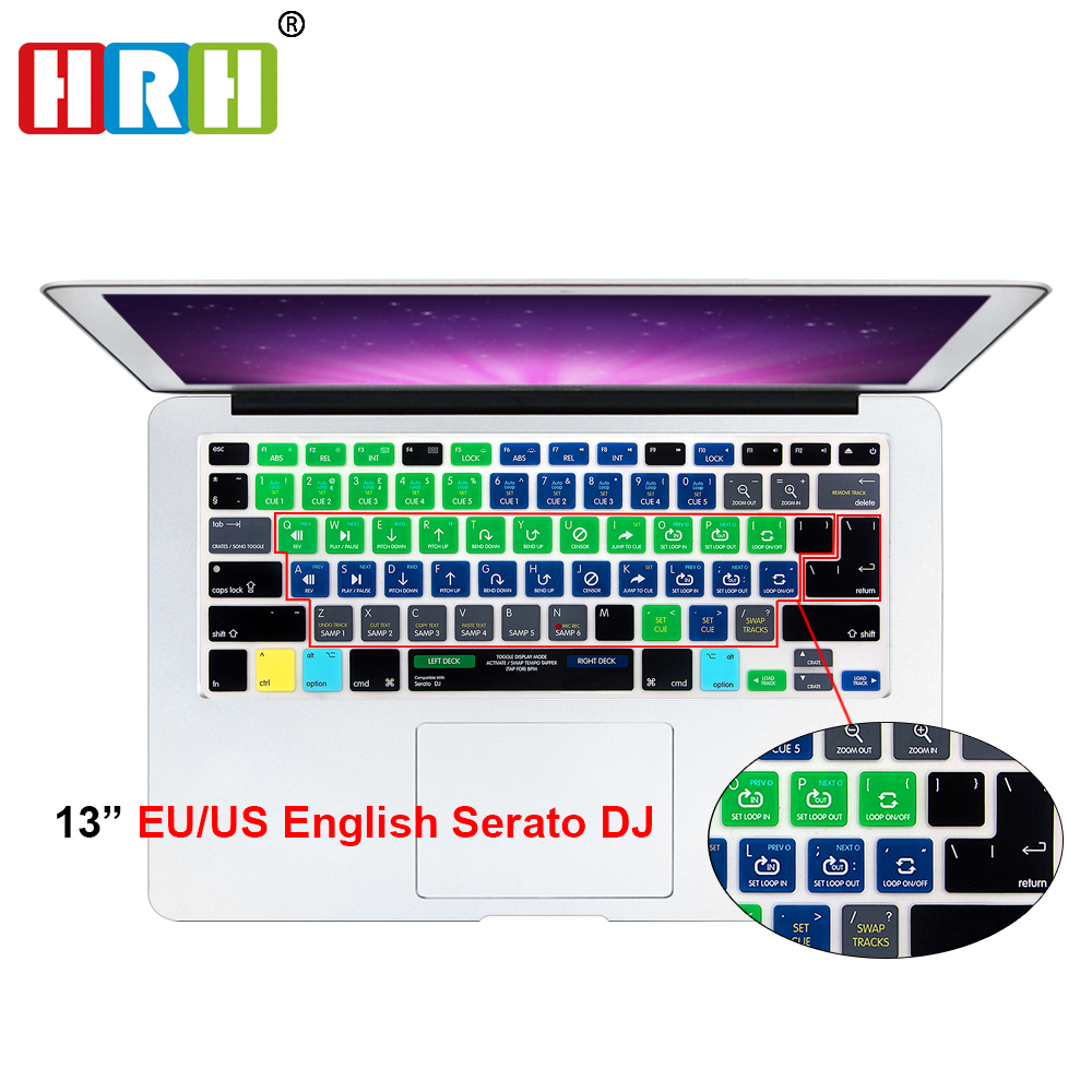 HRH Serato DJ Functional Shortcut Hotkey Siliconen Keyboard Cover Skin voor Macbook Air Pro Retina 13 15 17 release vóór 2016