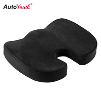AUTOYOUTH Seat Cushion Pad Black Coccyx Orthopedic Seat Cushion Lumbar Support Comfort Memory Foam Pad For