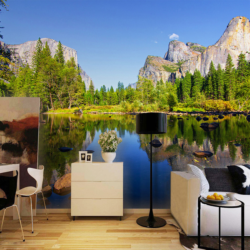 HD Lake Landscape Nature Wallpaper Living Room Dining Room ...