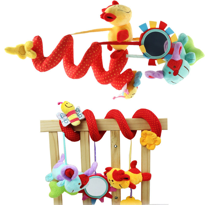 Baby Rattles Toy Animal Plush Toy Super Soft Multifunctional Bed Crib Hangings Brand Free Shipping