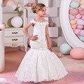Sereia Do Laço do vintage Flor Branca Meninas Vestir Fora Do Ombro Formais Crianças Júnior Vestidos de Festa Manga Curta Vestido de Comunhão