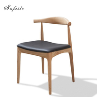SUFEILE Scandinavian Designer Simple Casual Wooden Chair Elbow Chair Horn Chair Solid Wood Dining Chair Office