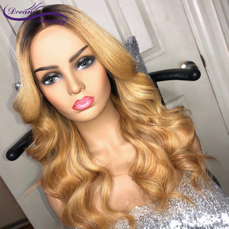 Dream Beauty Body Wave Ombre 27 Color 8-24 Inch Front 13X6 Lace Wig Remy Hair Brazilian Human Hair Wigs With Baby Hair