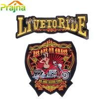 2 SZTUK Zestaw List Czaszka Plaster Biker Żelazko Na Tanie Haftowane duży Motocykl Plastry Na Ubrania Wielkim Powrotem Patch Punk Vest odznaka
