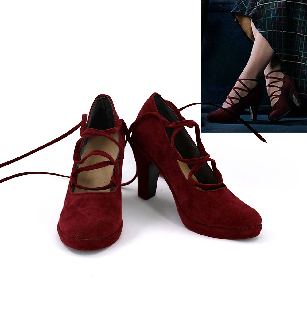 Queenie Goldstein Shoes Cosplay Fantastic Beasts The Crimes of Grindelwald Cosplay Boots High Heel Red Shoes