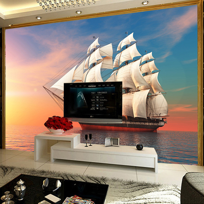 Custom Any Size 3D Photo Wallpaper Sailing Sea Landscape Living Room TV Background Wall Mural Wallpapers For Home Decor Walls