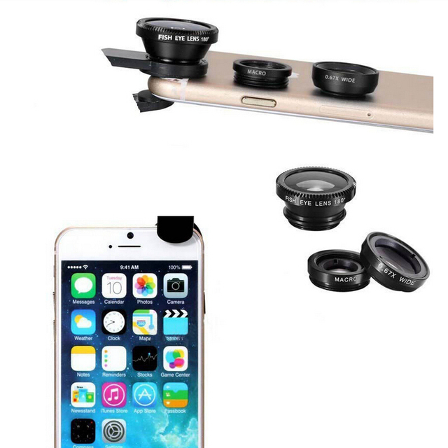 Lente Olho De Peixe Para Celular 3 In 1 Clip Fisheye Lens Camera Fish Eye Wide Angle Macro Lenses for IPhone 8 7 6 6S Plus 5 5S