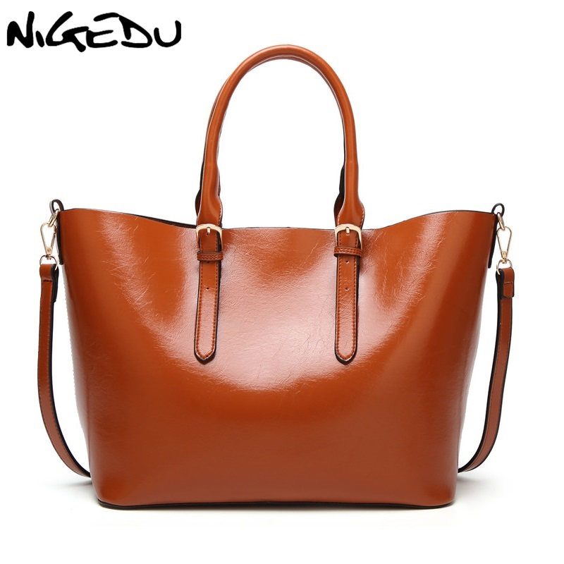 NIGEDU Brand Women Handbags Large Capacity Casual Pu Leather Shoulder Bag for Female messenger bags Luxury Ladies Big Totes kadell brand luxury women leather handbags bolsa feminina large capacity elegant ladies shoulder bag for business paty totes