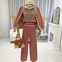 Autumn Winter 2019 New Items Fashionable Sweater Sets for Women 3 Piece Set Women Cardigan+vest+pants Geometric Suits