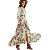 National Hepburn Style Retro Bohemian Vestidos Gypsy Floral Print Maxi Hippie Holiday Summer Long Flowing Dress