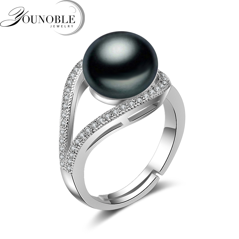 Real Wedding Black Freshwater Pearl Rings for Women White Cheap Bohemian Rings 925 Sterling Silver for