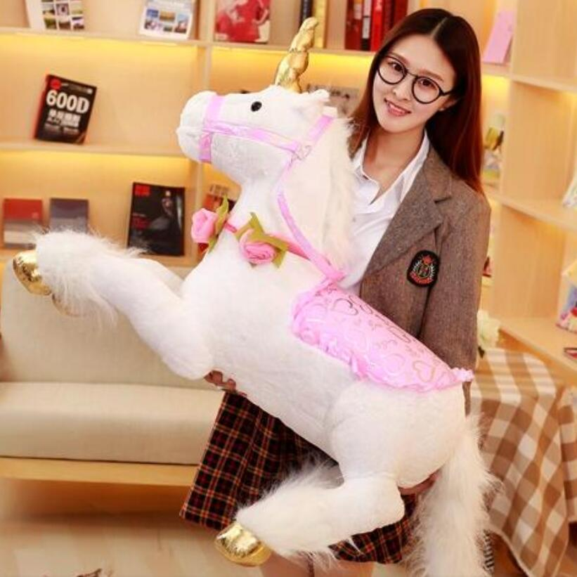 2018 new 1pc 100cm Plush toy giant Unicorn stuffed animals soft doll cartoon unicorn animal horse high quality gift for children bookfong 1pc 35cm simulation horse plush toy stuffed animal horse doll prop toys great gift for children
