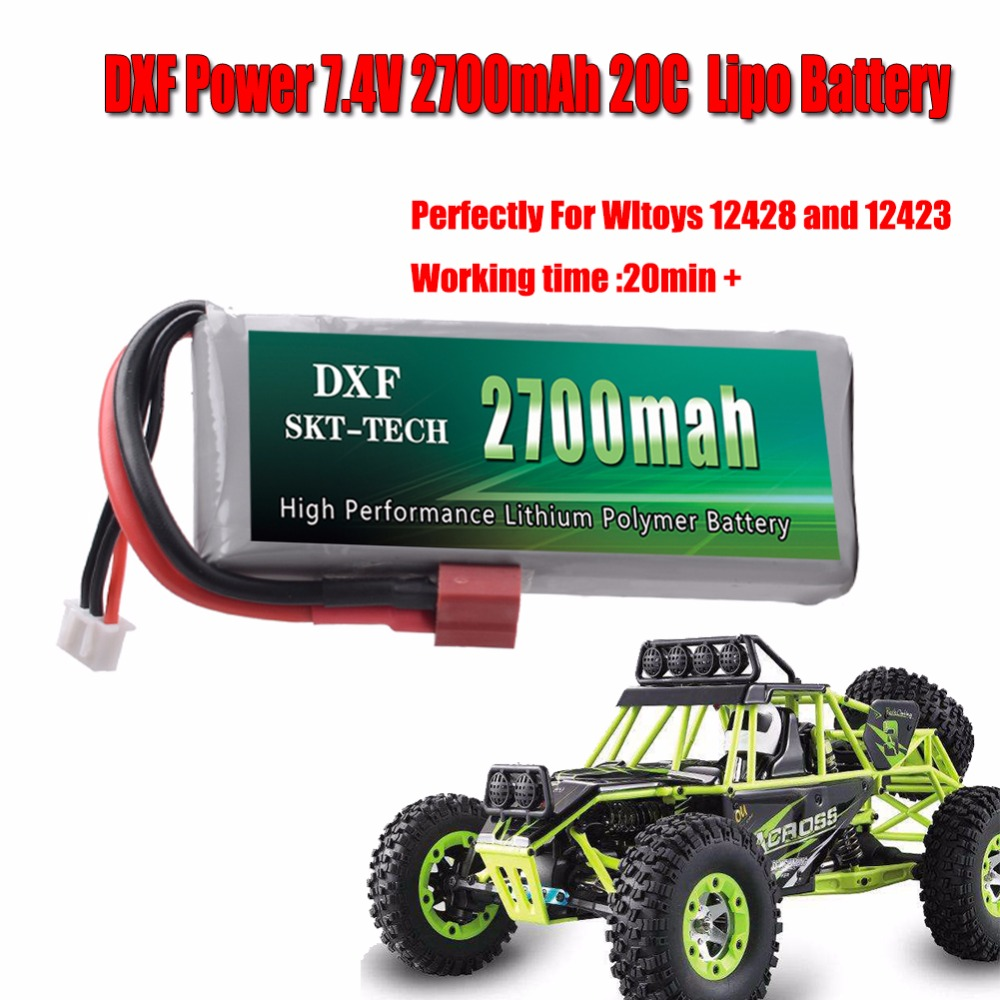 DXF Power Battery RC cars Rc Lipo Battery 2S 7.4V 2700mAh 20C Max 40C for Wltoys 12428 12423 1:12 RC Car Spare parts 5x 3 7v 150mah 20c battery and usb cable set for jjrc h20 rc quadcopter 3 7v 150mah 20c battery rc helicopter parts