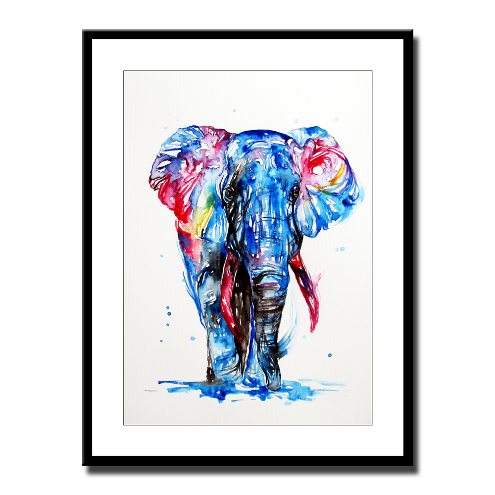 Art Animal Watercolor Elephant Print Painting on canvas No Frame ...