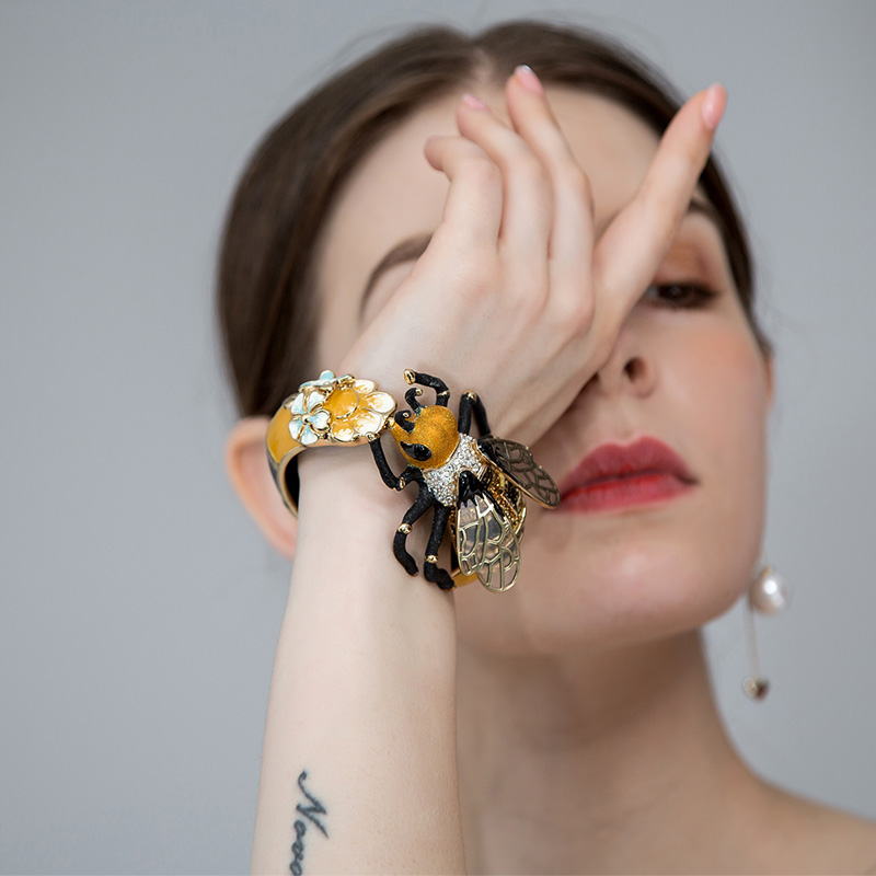 Bracelet de luxe en cuivre émail Esmalte abeille Bijoux Bracelet avec cristal couleur or mode Pulseira Feminina Homens Bijouterie - 5