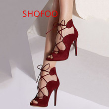 shofoo shoes.Free shipping, elegant cashmere leather shoes, Cross Lacing shoes, peep toe pumps, pointed toe pumps. SIZE:34-45