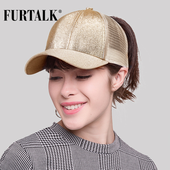 FURTALK Ponytail Baseball Cap Women Messy Bun Baseball Cap Glitter Snapback Cap Female Hip Pop Hat Summer Black White Hat 1