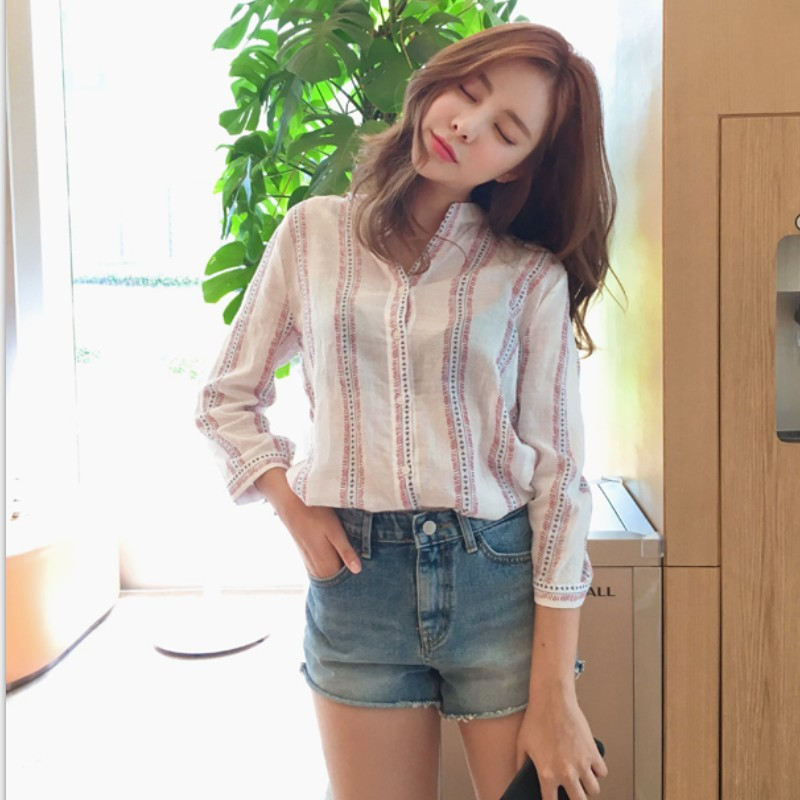 S-XL Plus Size 2018 New Spring V NeckTop Summer Women Casual Tops strip Top Blouses Shirts Loose OL Shirt Blusas Feminina