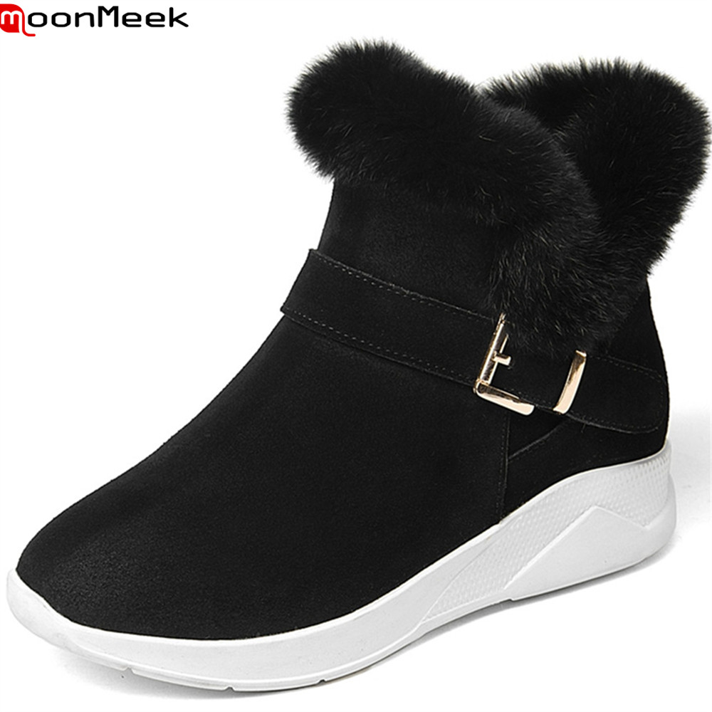 MoonMeek black army green fashion new arrive women boots round toe zipper cow suede snow boots buckle  leather ankle botos