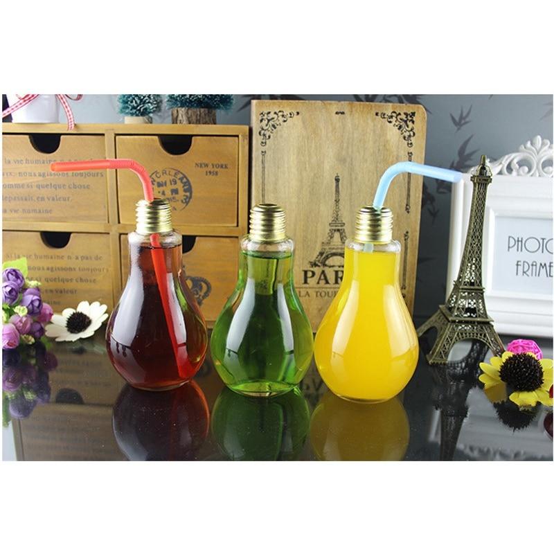 Hot selling 200ml light bulb glass beverage tea water for Decor drink bottle